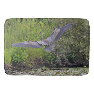 Great blue heron bathroom mat