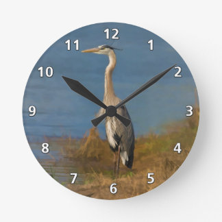 Great Blue Heron Bird at the Pond Clock
