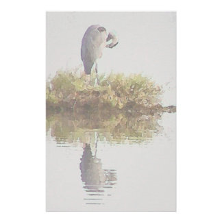 Great Blue Heron Bird Wildlife Animals Stationery