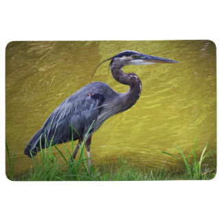 Great Blue Heron By The Bank Floor Mat