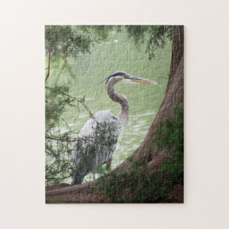 Great Blue Heron By The Tree Jigsaw Puzzle