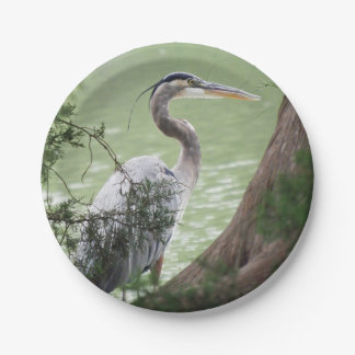 Great Blue Heron By The Tree Paper Plate