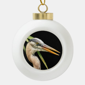 Great Blue Heron Ceramic Ball Christmas Ornament