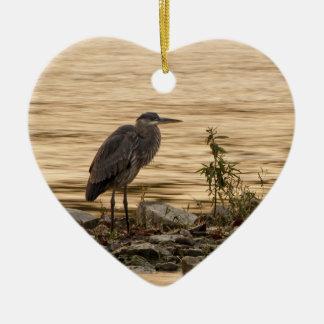 Great Blue Heron Ceramic Heart Ornament
