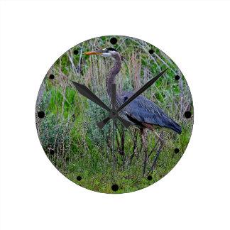 Great Blue Heron Round Wall Clock