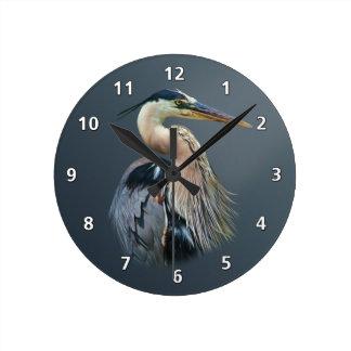 Great Blue Heron Round Wallclocks