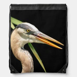 Great Blue Heron Drawstring Bag