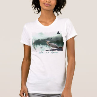Great Blue Heron, Egret, Crow & Dragonfly Shirt