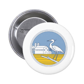 Great Blue Heron Farm Barn Circle Retro 2 Inch Round Button