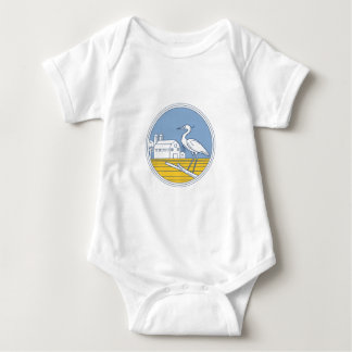 Great Blue Heron Farm Barn Circle Retro Baby Bodysuit