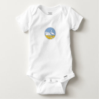 Great Blue Heron Farm Barn Circle Retro Baby Onesie