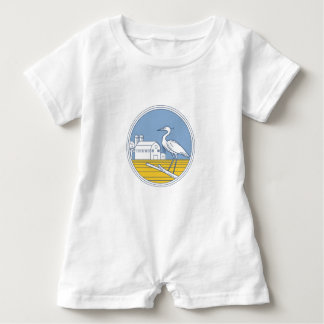 Great Blue Heron Farm Barn Circle Retro Baby Romper