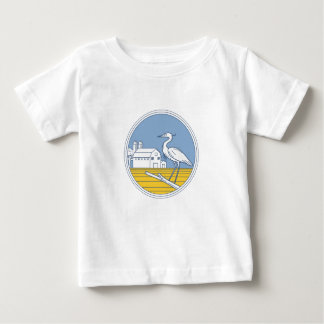 Great Blue Heron Farm Barn Circle Retro Baby T-Shirt