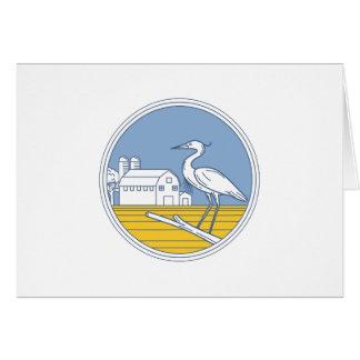 Great Blue Heron Farm Barn Circle Retro Card