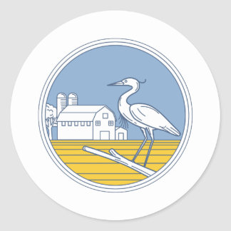 Great Blue Heron Farm Barn Circle Retro Classic Round Sticker