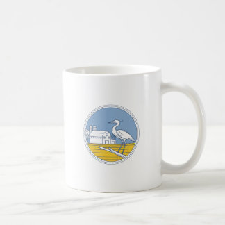 Great Blue Heron Farm Barn Circle Retro Coffee Mug
