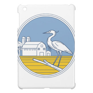 Great Blue Heron Farm Barn Circle Retro Cover For The iPad Mini