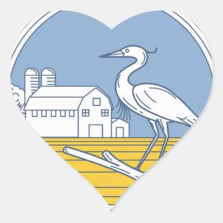 Great Blue Heron Farm Barn Circle Retro Heart Sticker