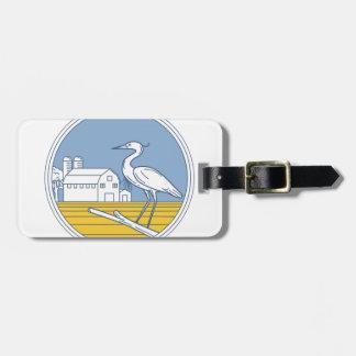 Great Blue Heron Farm Barn Circle Retro Luggage Tag