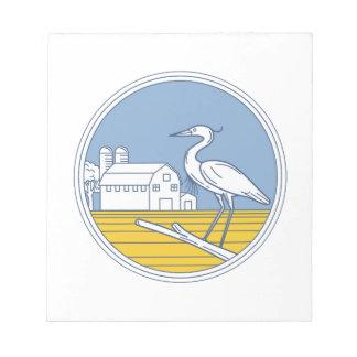 Great Blue Heron Farm Barn Circle Retro Notepads