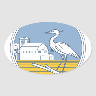 Great Blue Heron Farm Barn Circle Retro Oval Sticker