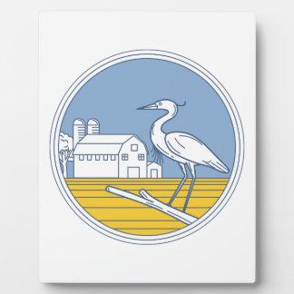 Great Blue Heron Farm Barn Circle Retro Plaque