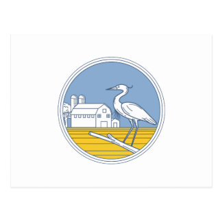 Great Blue Heron Farm Barn Circle Retro Postcard