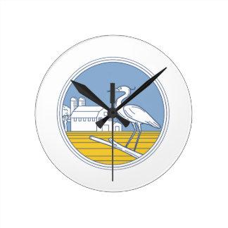 Great Blue Heron Farm Barn Circle Retro Round Clock