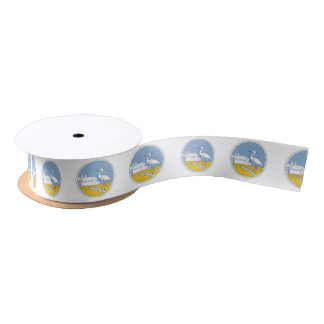 Great Blue Heron Farm Barn Circle Retro Satin Ribbon
