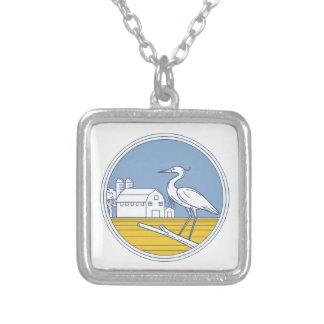 Great Blue Heron Farm Barn Circle Retro Silver Plated Necklace