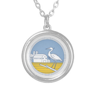 Great Blue Heron Farm Barn Circle Retro Silver Plated Necklace