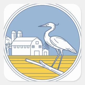 Great Blue Heron Farm Barn Circle Retro Square Sticker
