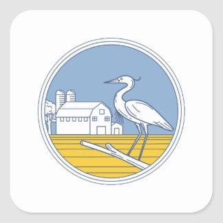 Great Blue Heron Farm Barn Circle Retro Square Sticker