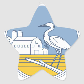 Great Blue Heron Farm Barn Circle Retro Star Sticker