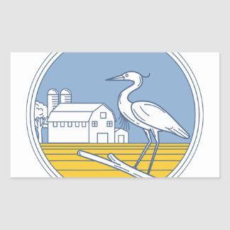 Great Blue Heron Farm Barn Circle Retro Sticker