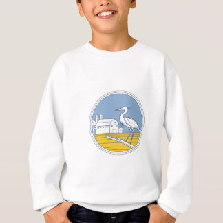 Great Blue Heron Farm Barn Circle Retro Sweatshirt