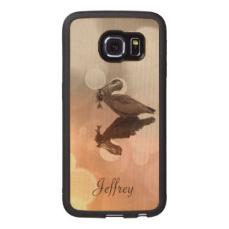 Great Blue Heron-Fisherman's Sunrise Galaxy 6 Edge Wood Phone Case