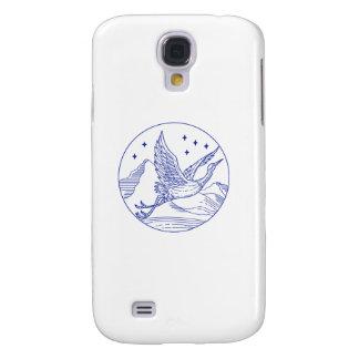 Great Blue Heron Flying Circle Mono Line