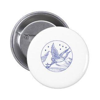 Great Blue Heron Flying Circle Mono Line 2 Inch Round Button
