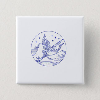 Great Blue Heron Flying Circle Mono Line 2 Inch Square Button