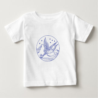 Great Blue Heron Flying Circle Mono Line Baby T-Shirt