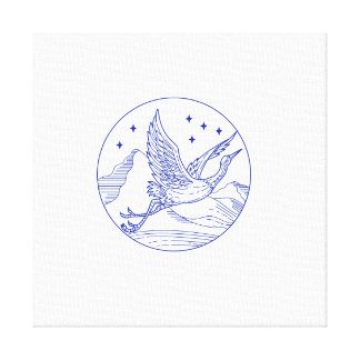 Great Blue Heron Flying Circle Mono Line Canvas Print