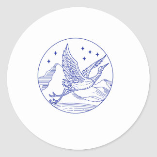 Great Blue Heron Flying Circle Mono Line Classic Round Sticker