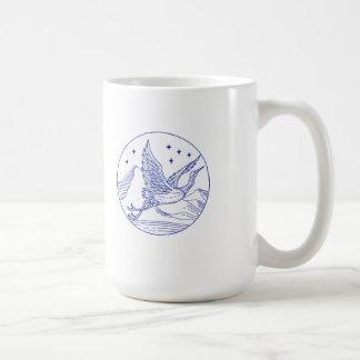 Great Blue Heron Flying Circle Mono Line Coffee Mug