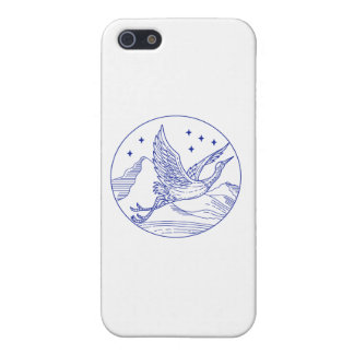 Great Blue Heron Flying Circle Mono Line iPhone 5/5S Case