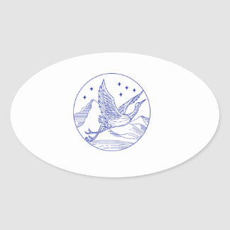 Great Blue Heron Flying Circle Mono Line Oval Sticker