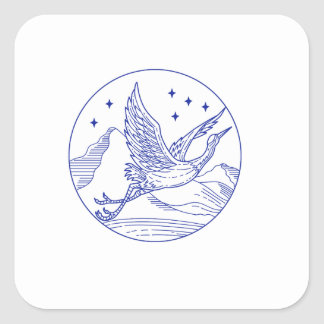 Great Blue Heron Flying Circle Mono Line Square Sticker