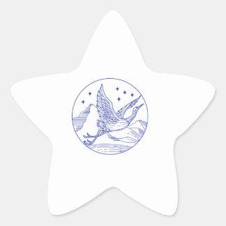 Great Blue Heron Flying Circle Mono Line Star Sticker