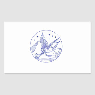 Great Blue Heron Flying Circle Mono Line Sticker