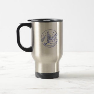 Great Blue Heron Flying Circle Mono Line Travel Mug